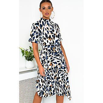IKRUSH Womens Petra Printed Frill Chiffon Dress