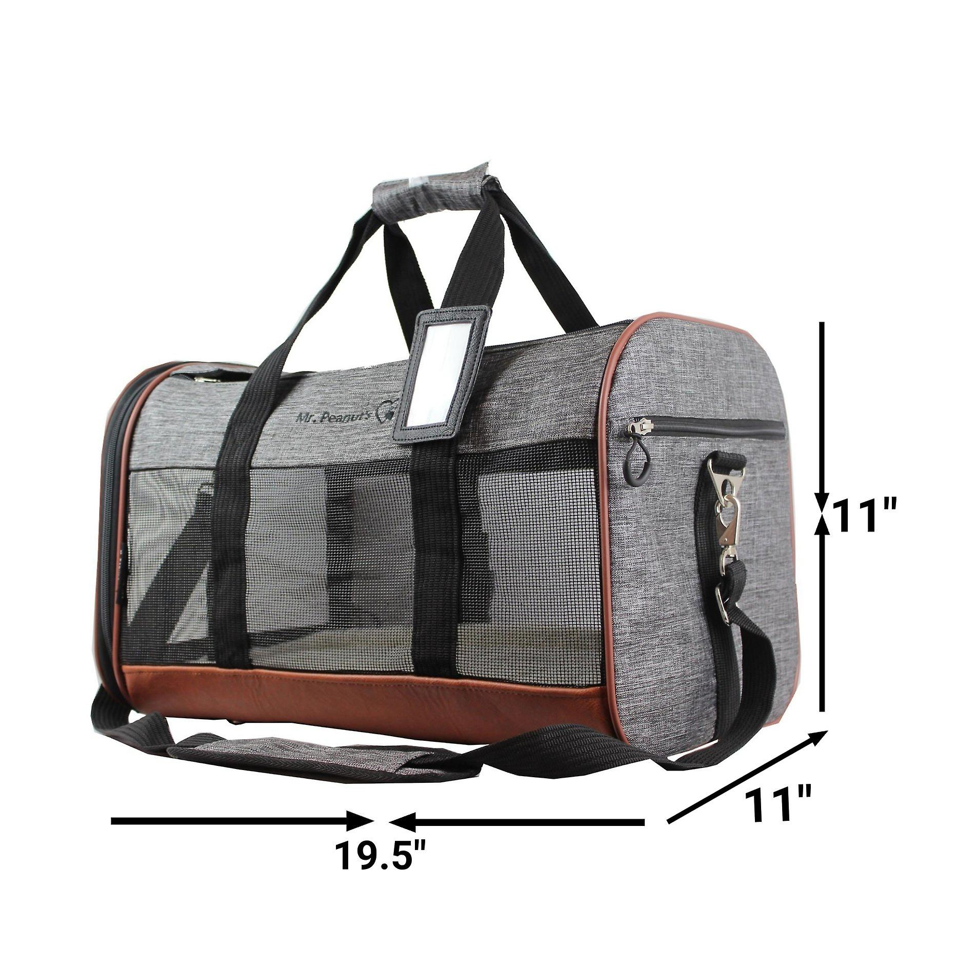 Rhodium series soft sided pet carrier - premium large size tote with self locking zippers and faux fleece pad over plywood base