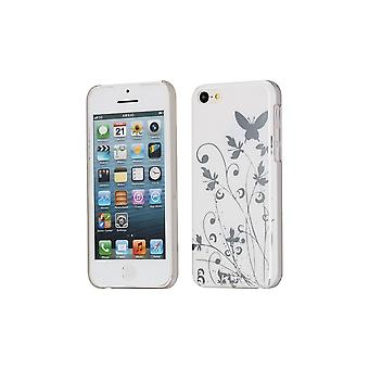 Hull For iPhone 5c Pattern Butterflies And Flowers White Background