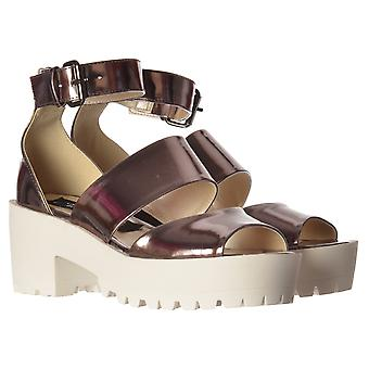 Onlineshoe Low Block Heel Cleated Sole Summer Sandals - Ankle Strap - Pewter Chrome, Silver Hologram