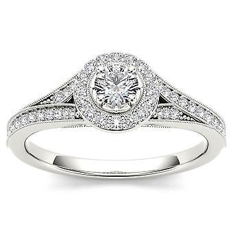 Igi certifierad 14k vitt guld 0,58 ct naturlig diamant halo förlovningsring