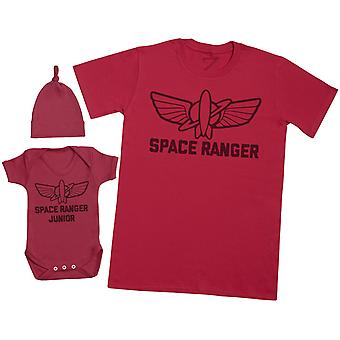 Space Ranger Junior - Mens T Shirt & Baby Bodysuit with Knot Hat