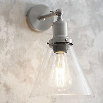 Garden Trading Hoxton Cone Glass Wall Light In Satin Nickel
