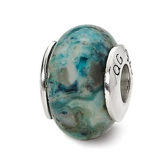 925 Sterling Silver Polished finish Reflections Blue Crazy Lace Agate Stone Bead Charm Pendant Necklace Jewelry Gifts fo