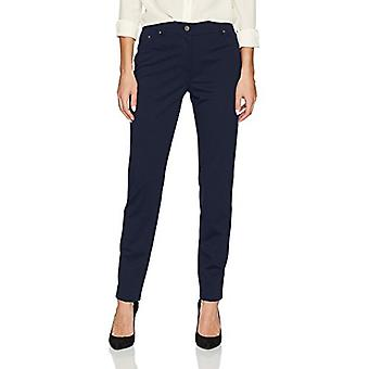 Ruby Rd. Women's Fly Front Stretch Ponte Legging Pant, Navy, Medium