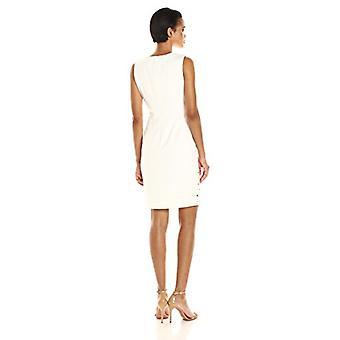 Calvin Klein Women's Round Neck Sleeveless Sheath Dress with, Cream, Size 8.0