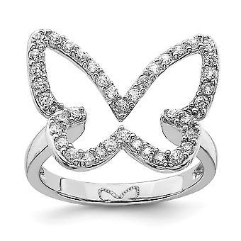 925 Sterling Silver CZ Cubic Zirconia Simulerad Diamond Butterfly Angel Wings Ring Smycken Gåvor för kvinnor - Ring Storlek: