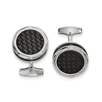 13.05mm Stainless Steel Polished Zig Zag Black Ip plated Round Cuff Links Jewelry Gifts for Men