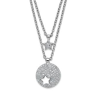 925 Sterling Silver Rhodium plated Double Strand CZ Star With 2inch Ext. Necklace 16.5 Inch Jewelry Gifts for Women