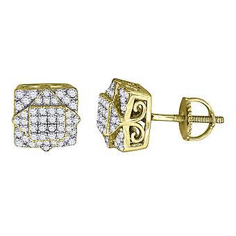 925 Sterling Ezüst Férfi Sárga hang CZ Cubic Cirkónia szimulált Gyémánt tér Kite Stud fülbevaló ékszer ajándékok férfiaknak
