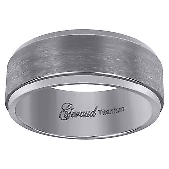 Titanium Mens Brushed Beveled Edge Comfort Fit Wedding Band 8mm Jewelry Gifts for Men - Ring Size: 8 to 13