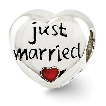 925 Sterling Silber poliert Reflexionen emailliert nur verheiratet Liebe Herz Perle Anhänger Anhänger Halskette Schmuck Geschenke für