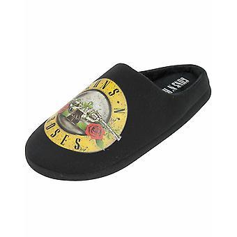 Guns N Roses Band Logo Bullet Men's Slip Black Mule Slippers