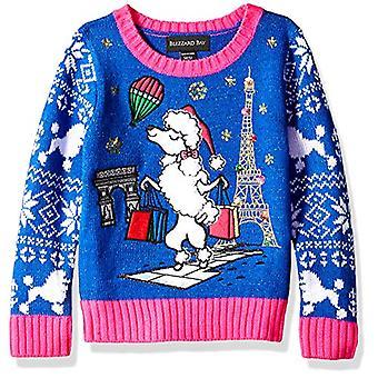 Blizzard Bay Girls Ugly Chrismas Sweater, Blue/Pink/Poodle, 6X