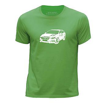 STUFF4 Boy's Round Neck T-Shirt/Stencil Car Art / V60 T6/Green