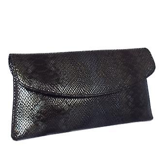 Peter Kaiser Winema Clutch Bag In Black Snake Print Leather