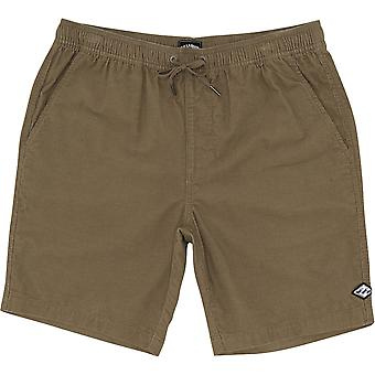 Billabong Larry Layback Cord Elasticated Shorts in Dark Khaki