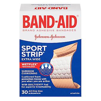 Band-aid sport strip adhesive bandages, one size, extra wide, 30 ea