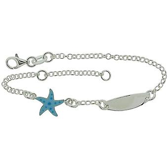 TOC Girls Sterling Silver Blue Star Charm ID Bracelet 6+1