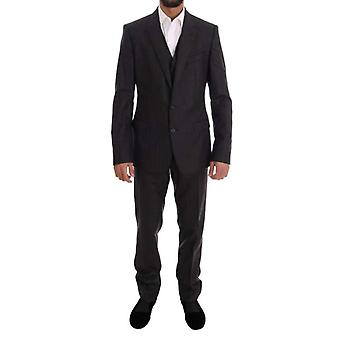 Dolce & Gabbana Gray Striped Two Button MARTINI 3 Piece Suit -- KOS1885616