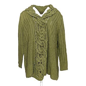 Serengeti Women's Sweater Open Knit Cardigan V-Neck Green