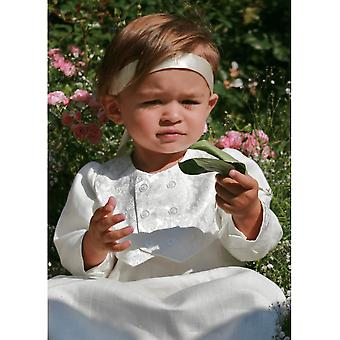 Christening Gown From Grace Of Sweden - In Linen With Brocade Vest