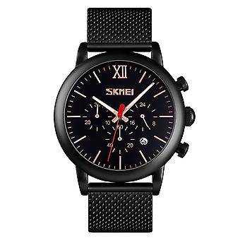 Skmei Mens Black Chronograph Quartz Watch Mesh Metal Strap Date Display SK9023GRN