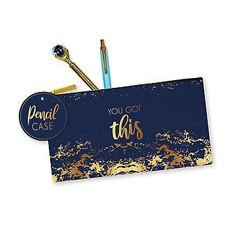 Opulent Design You Got This Pencil Case Faux Leather Navy & Gold Back to School
