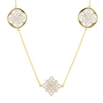 Long Yellow White Celtic Knot Clover Disc CZ Bridal Jewellery Gift Gold Necklace