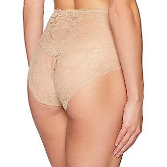 Brand - Arabella Women's Microfiber and Lace Smoothing Shapewear V Short, Sand, Large