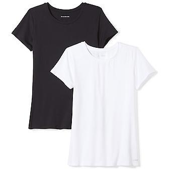أساسيات المرأة 2 حزمة التكنولوجيا تمتد قصيرة الأكمام Crewneck تي شيرت، -أسود / أبيض، كبير