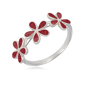 ADEN 925 Sterling Silver Coral Flowers Ring (id 3829)