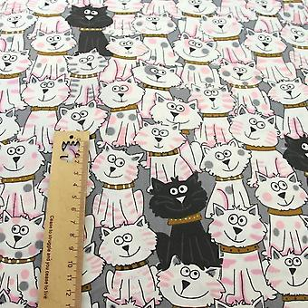 Cartoon Cats Printed Cotton Fabric For Diy Sewing, Patchwork, Quilting