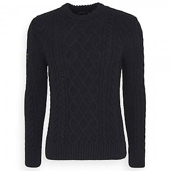Superdry Jacob Crew Neck Cable Knit Jumper Navy APX