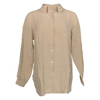 Coleção Clássicos de Joan Rivers Mulheres''s Boyfriend Shirt Bege A351489