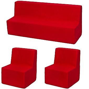 Conjunto de muebles de espuma niño extendido rojo extendido