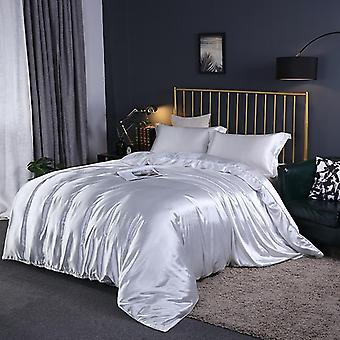 Satin Silk Luxury Queen King Size Bed Set Quilt Duvet Cover Linens And Pillowcase For Single Double Bedclothes