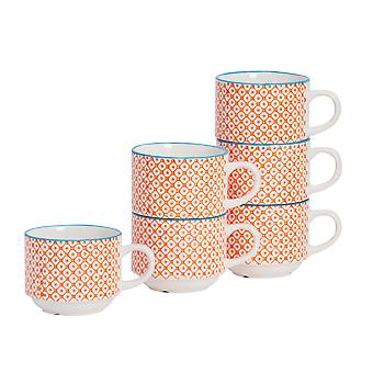Nicola Spring 6 Piece Hand-Printed Stacking Teacup Set - Japanese Style Porcelain Coffee Cups - Orange - 260ml