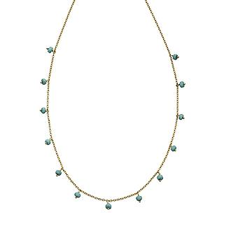 Beginnings Sterling Silver Gold Plate Blue Magnesite Bead Necklace N4393T
