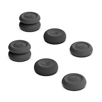 Skull & Co. 6 Thumb Grips for PlayStation 4 and 5 - Anti-Slip Controller Caps PS4 / PS5 - Black
