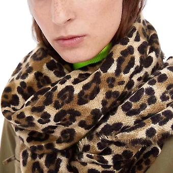 Leopard Wool Mix Frayed Edge Scarf | Brown
