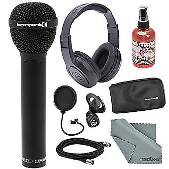 Beyerdynamic m88 tg dynamisk hyperkardioid mikrofon bunt med hörlurar, pop filter, sanitizer, och mer