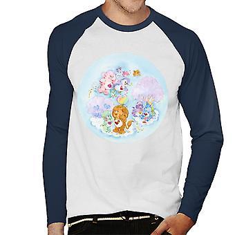 Care Bears Brave Heart Lion Pink Trees Men's Baseball Long Sleeved T-Shirt