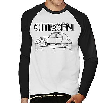 Citro�n 2CV Dimensions Black Diagram Men's Baseball Long Sleeved T-Shirt