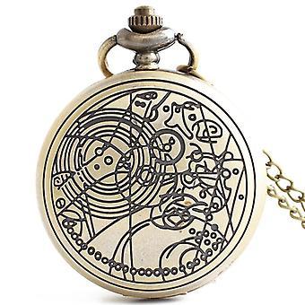 DEFFRUN Rétro Bronze Romantic Style Simple Dial Chain Quartz Pocket Watch