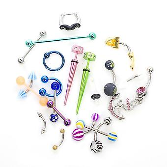Piercing jewelrykit assortito casuale pancia naso bilanciere borchie 14g 16g 18g
