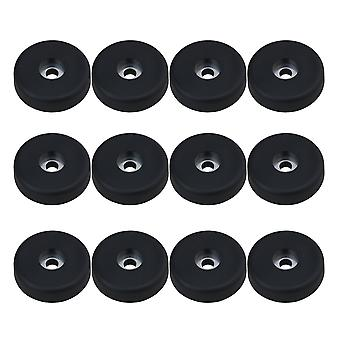 12pcs 4x1cm Plastic Amplifier Speaker Stand Spike Mat Base Pads Black
