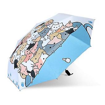 Creativo huevo de dibujos animados gato lindo soleado pintura paraguas