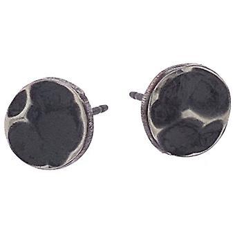 Ti2 Titanium Planished 7mm Stud Earrings - Black