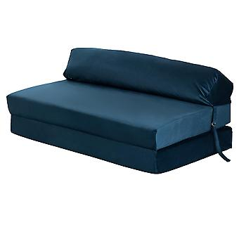 Pacific Blue velvet Z Bed Double Size Fold out Chairbed Sofa Seat Foam Folding Chair Futon